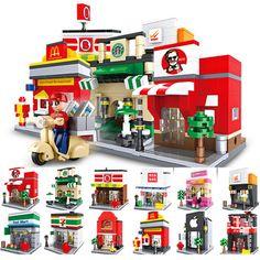 2018 Hsanhe City Series Compatible Legos Mini Street Scene Store Shop Sets Architecture McDonalds