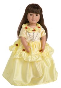 Finally, a princess costume worthy of such a beauty. This doll dress is a perfect match to our girls' Little Adventures brand Yellow Beauty princess costume and has a bright yellow crushed velvet bodice adorned with a beautiful red ribbon rose at the American Girl Parties, American Girl Crafts, Dress Up Outfits, Kids Outfits, Disney Princess Belle, Belle Beauty And The Beast, Belle Dress, Girl Doll Clothes, Our Girl