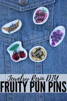 Enamel pins are all the rage and making some witty fruit pun pins is a piece of cake! Using shrink plastic, jewelry resin and pin backs is all it takes! Diy Resin Projects, Resin Crafts, Craft Projects, Shrink Plastic Jewelry, Resin Jewelry, Diy Resin Pins, Fruit Puns, Homemade Necklaces, Small Cafe Design