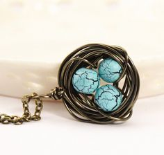 Bird Nest Necklace  Wire Wrapped Bird Nest by JacarandaDesigns
