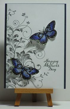 Cathys Card Spot: Sparkly Blue Butterflies Butterfly Stamp from Hero Arts - Antique Engravings. Pretty Cards, Cute Cards, Diy Cards, Tarjetas Stampin Up, Stampin Up Cards, Butterfly Cards, Flower Cards, Quilling, Mothers Day Cards