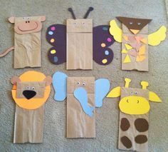 Brown paper bag jungle animal puppets w children's book Giraffe's can't Dance... Should be fun!