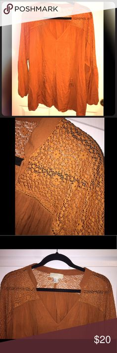 Burnt Orange Blouse w/ Self Tie Tassels & Crochet Blouse from forever 21 with crochet Trim and self tie tassels in a burnt orange color. Perfect for fall ! Forever 21 Tops Blouses
