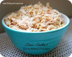 Recipe for Basic Shredded Chicken in the Slow Cooker (crockpot). I love this seasoned chicken plain or in casseroles, enchiladas, or on salad! SO YUMMY and EASY!