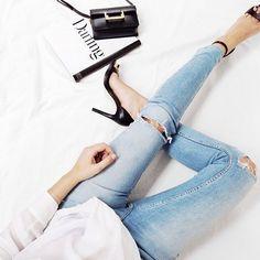{ denim. black heels. }
