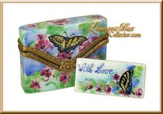 Envelope with Butterfly & Flowers Hand-Painted Limoges box, a Beauchamp Limoges Exclusive www.LimogesBoxCollector.com