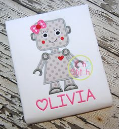 I2S Robot Girl Applique design