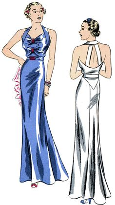 #T1602 - 1930s Evening Gown with Back Bands Sewing Pattern - Retro Glamour