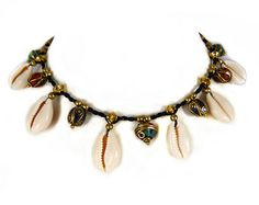 Thai Choker Collier Cowry Shell Beads Boho Micro by ValaddaJewelry