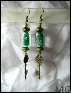 Remode Antiqued Brass Green Artisian Glass Bead Heart Key Earrings OOAK Upcycled | eBay
