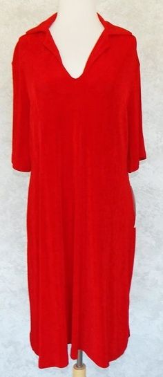 KIYONNA Red Slinky Travelers Collared Shift Dress Stretch Office Holiday NWT 14 #Kiyonna #Shift #WeartoWork