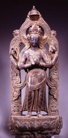 POLISHED STONE FIGURE OF PRAJNAPARAMITA NEPAL, KATHMANDU VALLEY CIRCA 16TH CENTURY