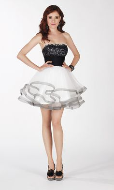Short Strapless Layered Babydoll Dress