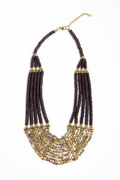 gold + gray statement necklace.
