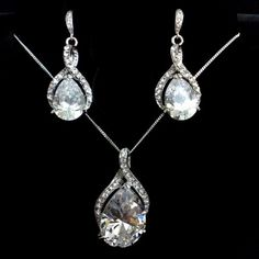Cz Teardrop Bridal Jewelry, Swarovski Necklace Earrings - TWIRL SET A   yjdesign - Wedding on ArtFire