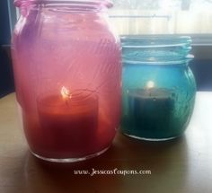 Mason Jar Crafts are all the rage! Here is an EASY tutorial for vintage inspired tinted mason jars. I did blue and pink. They turned out so pretty! Mason Jar Projects, Mason Jar Crafts, Mason Jar Diy, Tinted Mason Jars, Colored Mason Jars, Diy Candles, Candle Jars, Glass Bottle Crafts, Block Craft