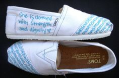 she is clothed in strength TOMS | visit etsy com