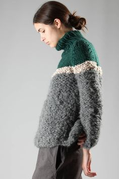 GUDRUN & GUDRUN - Turtle-Neck Wide Sweater In Hand-Knitted Virgin Wool, Mohair And Alpaca :: Ivo Milan