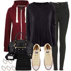 Style #9504 by vany-alvarado on Polyvore featuring moda, H&M, Topshop, Converse, Balenciaga, Pieces, women's clothing, women's fashion, women and female