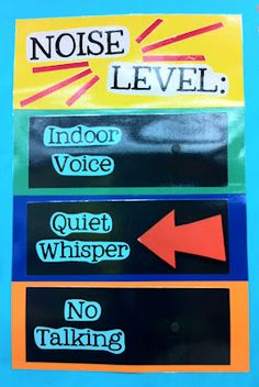 """I have magnets on each level and I just move the arrow to where it needs to be. We only use the noise level chart during quiet working time. I usually leave it at a """"quiet whisper"""" and if I ever move it to """"no talking"""" then they know I mean business!"""