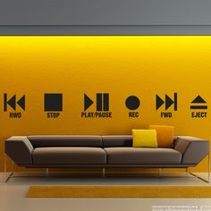 These music #wall #decals and this wall decal Play and stop can give you ideas for decorating. #stickers
