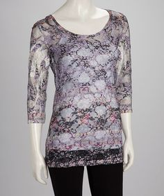 Take a look at this Gray Floral Lace Sheer Top by Citi Life on #zulily today!