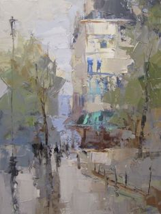 "Barbara Flowers, ""Paris Street"", Oil on Canvas, 24x18 - Anne Irwin Fine Art"