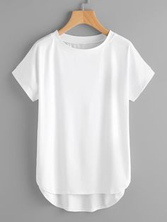 Shop High Low Curved Hem Tshirt at ROMWE, discover more fashion styles online. Trendy Outfits, Cute Outfits, Fashion Outfits, Fashion Fashion, Fashion Ideas, Vintage Fashion, Summer Outfits, Personalized T Shirts, Capsule Wardrobe
