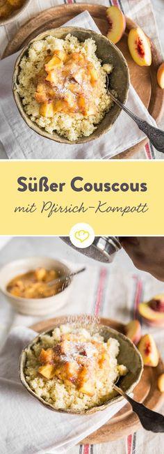 Hier lässt du Couscous in süßer Kokosmilch quellen und verfeinerst ihn mit Zimt und Pfirsichpüree. Klingt ungewöhnlich? Ist es auch. Schmeckt aber herrlich.