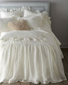 Shop luxury bedding sets and bedding collections at Horchow. Browse our incredible selection of full, queen, and king size luxury bedding sets. Shabby Chic Bedrooms, Shabby Chic Homes, Shabby Chic Style, Shabby Chic Decor, Girlie Style, Home Bedroom, Bedroom Decor, Bedroom Ideas, Bedroom Rustic