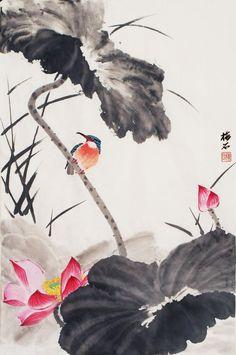 Wang Xue Tao ,Lotus and Kingfisher Japanese Painting, Chinese Painting, Japanese Art, Chinese Brush, Chinese Art, Lotus Flower, Flower Art, Ink Painting, Watercolor Paintings