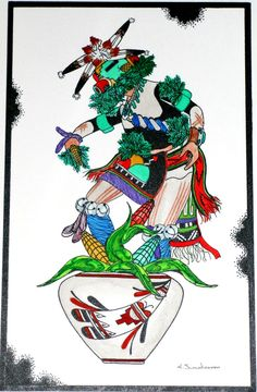 Original Ink & Watercolor - Avachoy - Corn Kachina - Hopi Art by Edgar Sumatzkuku