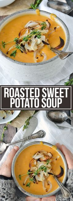 ROASTED SWEET POTATO SOUP WITH CARAMELIZED ONIONS