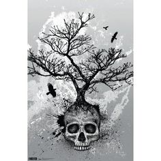 Deep symbolism and a dark palette give the Trends International Skull - Tree Wall Poster - x in. The artistic skull with a giant,. Skull Tattoos, Body Art Tattoos, Sleeve Tattoos, Tatoos, Trendy Tattoos, Cool Tattoos, Tattoo Tod, Tattoo Thigh, Grey Tattoo