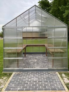 Heating A Greenhouse, Diy Greenhouse Plans, Simple Greenhouse, Polycarbonate Greenhouse, Greenhouse Interiors, Backyard Greenhouse, Greenhouse Growing, Greenhouse Tables, Greenhouse Shed Combo
