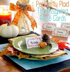 Dress up your Thanksgiving dinner table with these place card printables!