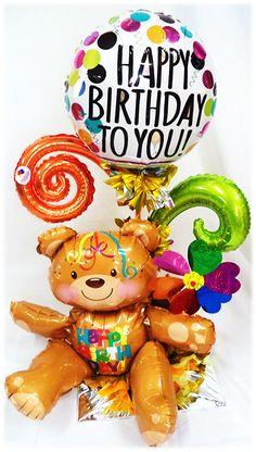 Arreglos Especial Cumpleaños Oso y Rehilete!! www.globocentro.com.gt