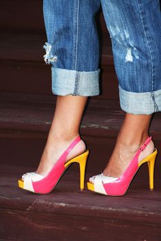 Yellow and pink Guess shoes