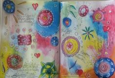 A page with blooms. Teacher: Kate Crane #ajss2016 #newentry #artjournal #mixedmedia #larimaresart #acrylic #experiment