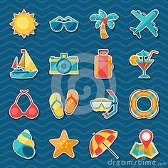 Sistema del icono de la etiqueta engomada del viaje y del turismo Scrapbooks, Doodles, Crafts, Banners, Voyage, Icons, Tourism, Presents, Manualidades