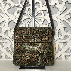 Patricia Nash Balluri Crossbody Green Mediterranean Floral Tooled Leather | eBay Tooled Leather, Leather Tooling, Leather Bag, Crossbody Messenger Bag, Satchel, Patricia Nash, Large Bags, Bucket Bag, Floral