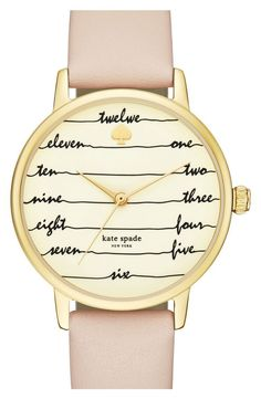 kate spade 'time on wire' leather strap watch, 34mm