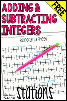Adding and Subtracting Integers Stations Algebra Activities, Math Games, Math Math, Guided Math, Teaching Math, Teaching Resources, Integer Rules, Adding And Subtracting Integers, Seventh Grade Math