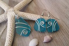 Handmade+in+Hawaii,+wire+wrapped+turquoise+blue+sea+glass+necklace+++earrings+jewelry+set,+sterling+silver+chain,gift+box,sea+glass+earrings,+sea+glass+jewelry,+mothers+day+gift.