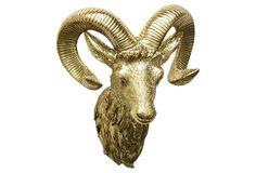 Ram Head Wall Decor, Gold