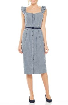 Gal Meets Glam Collection Carly Gingham Sheath Dress available at Work Fashion, Fashion Advice, Runway Fashion, Womens Fashion, Spring Dresses, Dresses For Work, Gal Meets Glam, Budget Fashion, Gingham Dress