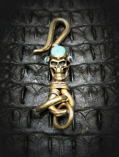 Skull Brass Hook Key Chain/Key Holder Spooky Steampuck by Mygoth (GBK007-2)