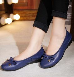 Women's #blue leather shoe #loafer easy slip on butterfly lace decorated on vamp, Low cut, Round toe design.