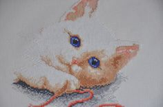 Finished / Completed Cross Stitch -Playful Kitten with string crossstitch counted cross stitch