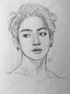 Image about hair in bts by 제발 on We Heart It – Art Sketches Kpop Drawings, Pencil Art Drawings, Art Drawings Sketches, Jungkook Fanart, Kpop Fanart, Bts Jungkook, Arte Sketchbook, Fan Art, Bts Chibi